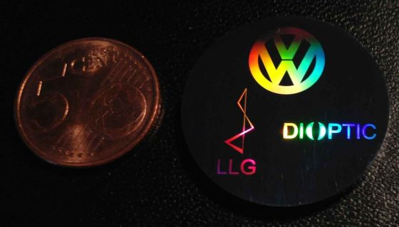 sample metal disk with diffractive markings
