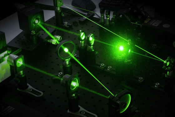 optical setup with green laser
