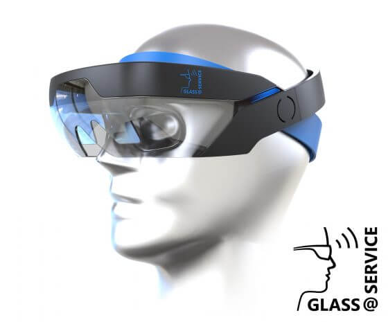 illustration of person wearing an augmented reality headset in the project Glass@Service