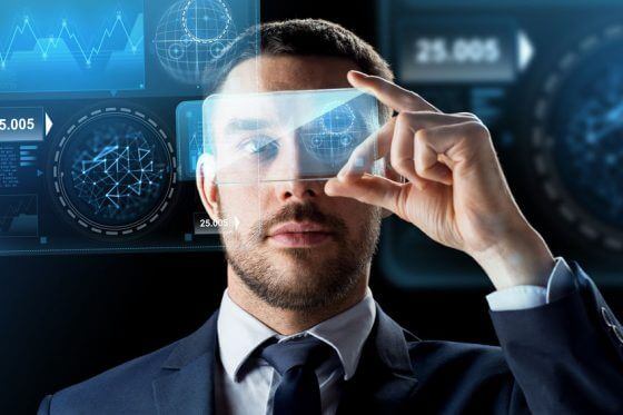 business, augmented reality and future technology concept - businessman working with transparent smartphone and virtual screens projections