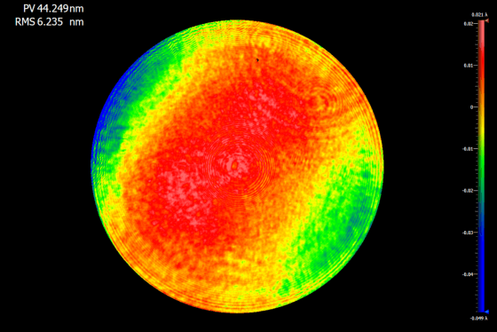 Calibration result of a Diffractive Transmission Sphere (DTS) with a wavefront error of <6nm rms.