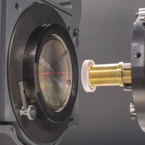 Measurement setup for testing an aspherical lens with a DFNL CGH.